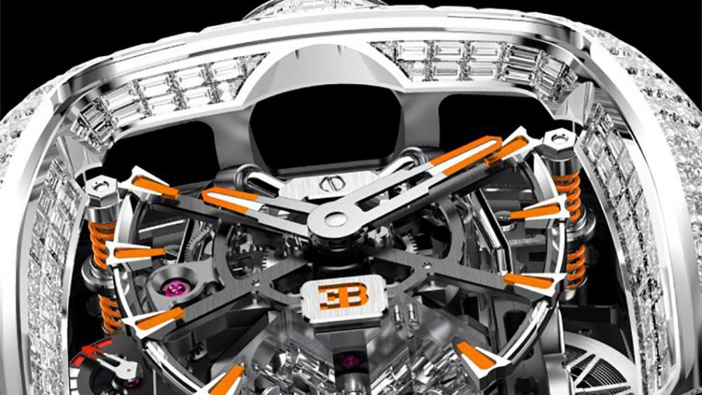 Introducing the Bugatti Chiron Tourbillon Baguette Black and Orange Sapphires
